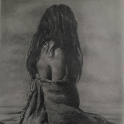 figurative pencil sketch, 10 x 14 inch, santanu sen,figurative drawings,paintings for living room,paper,graphite pencil,10x14inch,GAL019397809
