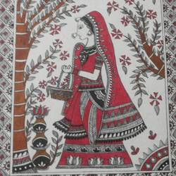 madhubani paintings 4, 14 x 11 inch, monika kumar,folk art paintings,paintings for living room,madhubani paintings,thick paper,watercolor,14x11inch,GAL0361781