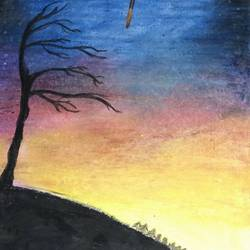the dawn, 7 x 12 inch, devina thomas,landscape paintings,paintings for living room,drawing paper,pastel color,7x12inch,GAL032147810