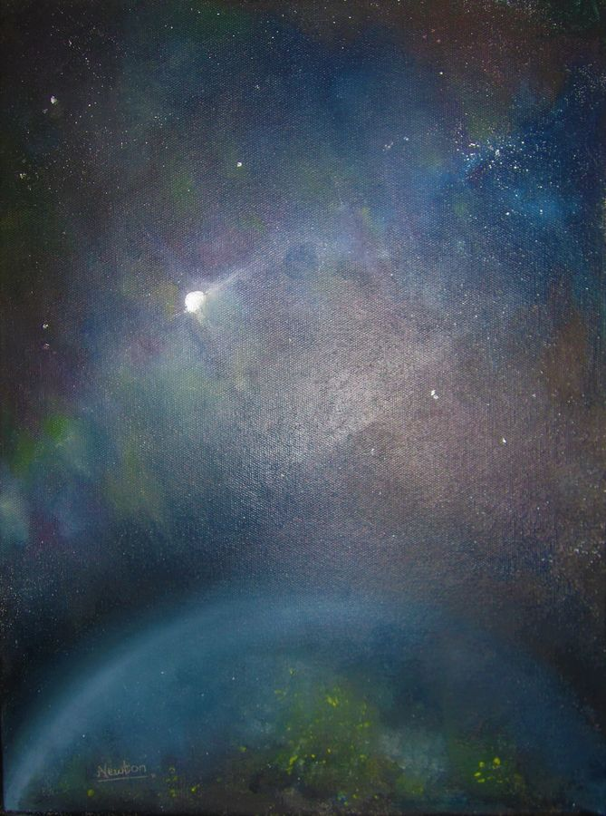 the cosmos, 12 x 16 inch, naghma afreen,paintings,photorealism paintings,paintings for living room,canvas board,oil paint,12x16inch,GAL030027814
