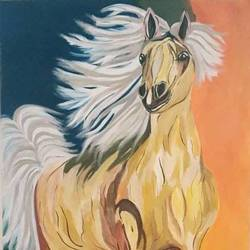 the golden horse, 20 x 30 inch, puneet kaur,paintings for living room,horse paintings,wildlife paintings,canvas,acrylic color,20x30inch,GAL032257823
