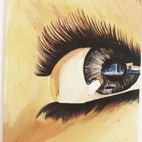 beauty in eyes, 8 x 10 inch, puneet kaur,impressionist paintings,paintings for living room,canvas,acrylic color,8x10inch,GAL032257824