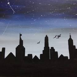 night light, 12 x 16 inch, puneet kaur,cityscape paintings,canvas,acrylic color,12x16inch,GAL032257825