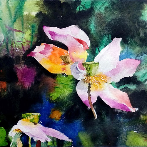 lotus, 21 x 9 inch, jeyaprakash m,flower paintings,paintings for living room,canson paper,watercolor,21x9inch,GAL011027826