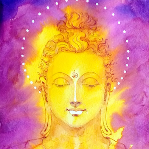 buddha, 9 x 21 inch, jeyaprakash m,buddha paintings,paintings for living room,canson paper,watercolor,9x21inch,religious,peace,meditation,meditating,gautam,goutam,buddha,yellow,purple,face,smiling,GAL011027827