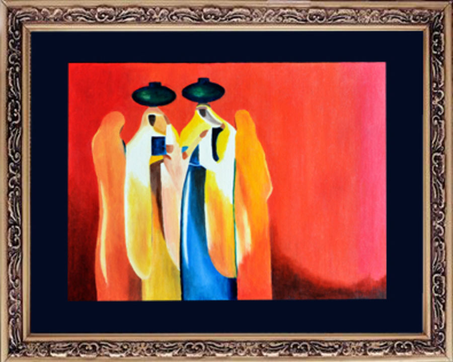 ladies with pots, 24 x 20 inch, gogy artgaleri,folk art paintings,paintings for living room,canvas,oil,24x20inch,GAL0406783