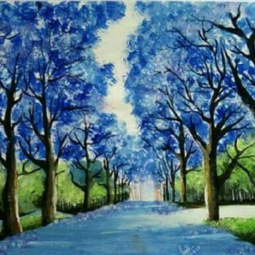 blue trees, 8 x 12 inch, sonali tompe,paintings for living room,landscape paintings,thick paper,acrylic color,8x12inch,GAL032317830
