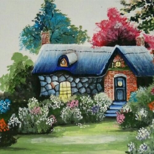 dream house, 8 x 12 inch, sonali tompe,landscape paintings,paintings for living room,thick paper,acrylic color,8x12inch,GAL032317833