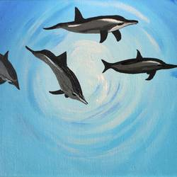 dolphins, 10 x 8 inch, amita dand,photorealism paintings,paintings for living room,canvas board,acrylic color,10x8inch,GAL014677834