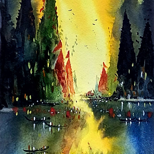 varanasi ghat 01, 7 x 21 inch, jeyaprakash m,cityscape paintings,paintings for living room,canson paper,watercolor,7x21inch,GAL011027843