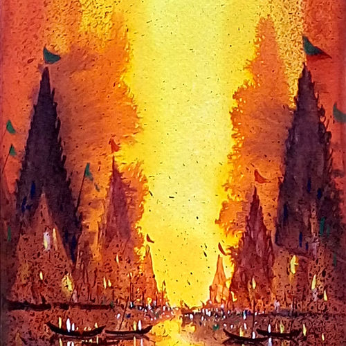 varanasi ghat 02, 7 x 21 inch, jeyaprakash m,cityscape paintings,paintings for living room,canson paper,watercolor,7x21inch,GAL011027844