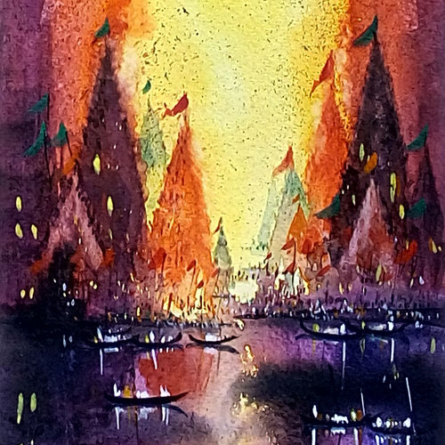 varanasi ghat 03, 7 x 21 inch, jeyaprakash m,cityscape paintings,paintings for living room,canson paper,watercolor,7x21inch,GAL011027845