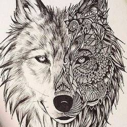 wolf mandal art, 12 x 16 inch, ashwin khare,graffiti drawings,paintings for bedroom,drawing paper,graphite pencil,12x16inch,GAL032357848