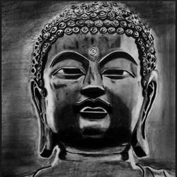 buddha, 12 x 17 inch, ashwin khare,buddha drawings,paintings for living room,buddha paintings,drawing paper,charcoal,12x17inch,religious,peace,meditation,meditating,gautam,goutam,buddha,black and white,idol,GAL032357849