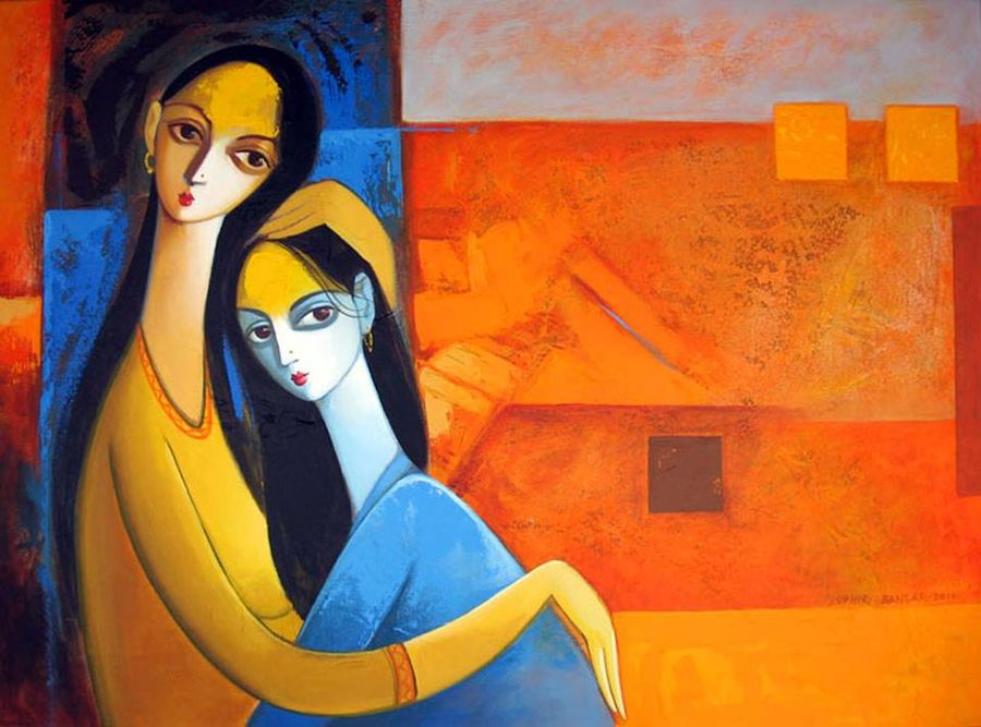 mother and child , 24 x 18 inch, gogy artgaleri,modern art paintings,paintings for bedroom,canvas,acrylic color,24x18inch,GAL0406785