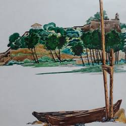 goa fort aguada, 13 x 13 inch, nitin adake,landscape paintings,paintings for living room,ivory sheet,ink color,13x13inch,GAL032397854
