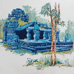 tambade surla temple, goa, 14 x 10 inch, nitin adake,landscape paintings,paintings for living room,ivory sheet,ink color,14x10inch,GAL032397855
