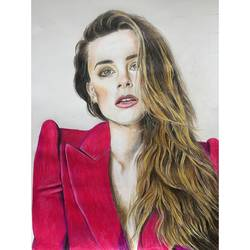 amber heard, 16 x 89 inch, lovepreet gill,figurative drawings,thick paper,pencil color,16x89inch,GAL023337861