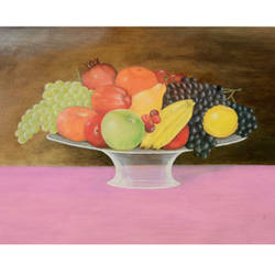 fresh fruits, 22 x 15 inch, uttam ogale,still life paintings,paintings for dining room,paper,oil,22x15inch,GAL032457867