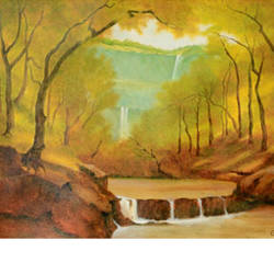 rainy season, 15 x 11 inch, uttam ogale,nature paintings,paintings for living room,paper,oil,15x11inch,GAL032457871Nature,environment,Beauty,scenery,greenery,water,waterfall,trees