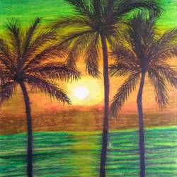 sun rise with a fresh look, 15 x 10 inch, sudeshna ballav,nature paintings,paintings for living room,drawing paper,pastel color,15x10inch,GAL032507875Nature,environment,Beauty,scenery,greenery