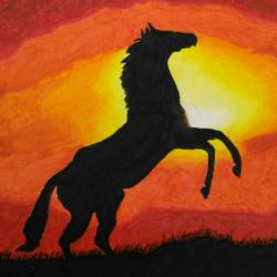 the galloping horse, 9 x 14 inch, sudeshna ballav,wildlife paintings,paintings for living room,horse paintings,drawing paper,pastel color,9x14inch,GAL032507878