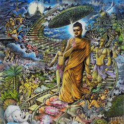 lord buddha's - devãrohanvatthu, 24 x 36 inch, uddhav deshpande,buddha paintings,paintings for living room,canvas,ink color,24x36inch,religious,peace,meditation,meditating,gautam,goutam,buddha,lords,journey,path,giving blessing,GAL0409789