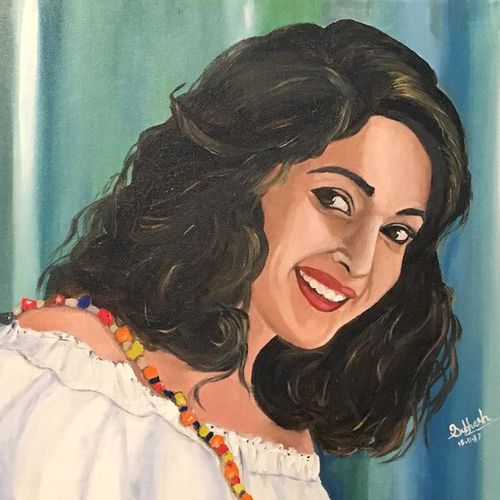 madhuri dixit , 18 x 16 inch, subhash gijare,portrait paintings,paintings for living room,canvas,oil,18x16inch,GAL01387894