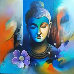 lord buddha with purple flower , 24 x 24 inch, sanjay  tandekar ,buddha paintings,paintings for living room,canvas,acrylic color,24x24inch,GAL028107896