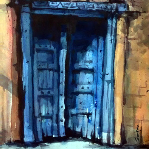 blue city door, 21 x 15 inch, sankar thakur,landscape paintings,paintings for living room,fabriano sheet,watercolor,21x15inch,GAL0779