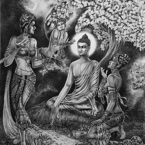 buddha -three daughters of mãrã, 30 x 36 inch, uddhav deshpande,buddha paintings,paintings for dining room,canvas,pen color,30x36inch,religious,peace,meditation,meditating,gautam,goutam,buddha,monks,giving blessing,GAL0409790