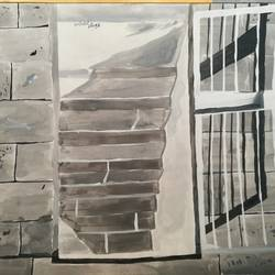 stairs, 17 x 12 inch, abhimanyu duggal,paintings,abstract paintings,paintings for bedroom,drawing paper,watercolor,17x12inch,GAL030927903