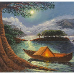 the moonlight river, 9 x 12 inch, niraj pradhan,landscape paintings,paintings for bedroom,canvas,acrylic color,9x12inch,GAL04927904