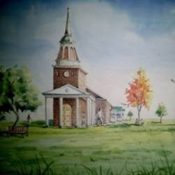 the charch, 14 x 24 inch, chetan shelar,cityscape paintings,paintings for office,renaissance watercolor paper,watercolor,14x24inch,GAL032687907