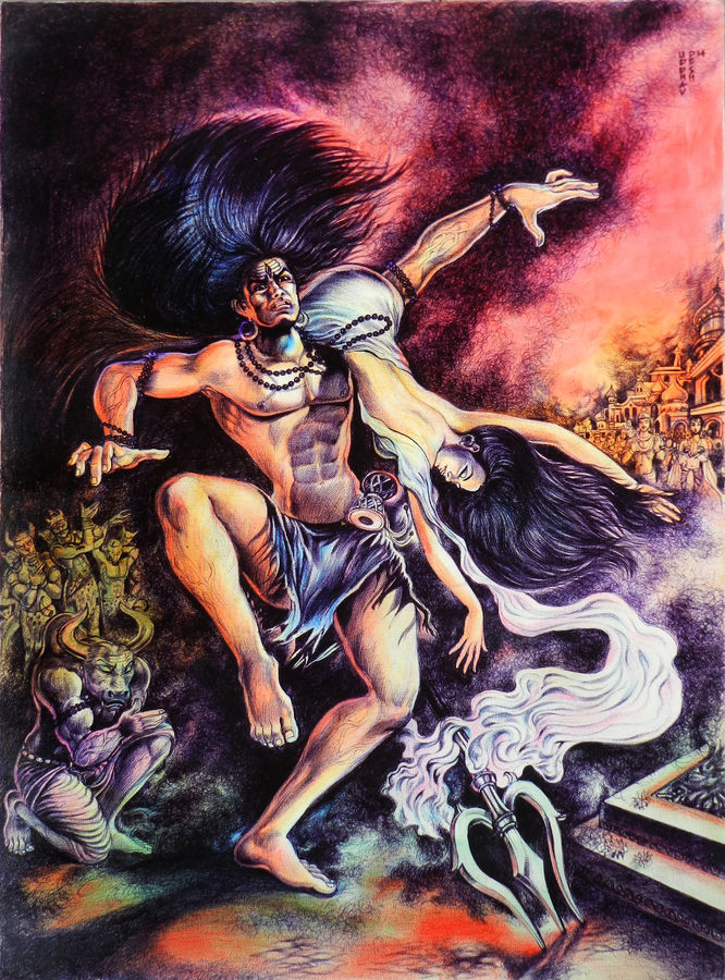 lord shiva & sati, 22 x 30 inch, uddhav deshpande,religious paintings,paintings for living room,paintings for bedroom,paintings for office,lord shiva paintings,canvas,pen color,22x30inch,GAL0409791