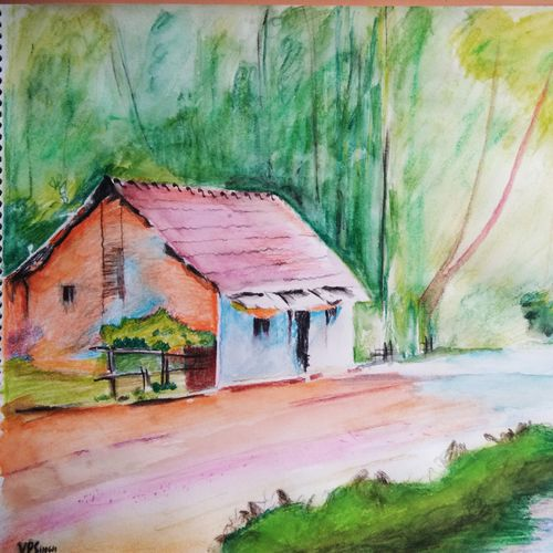 , 14 x 18 inch, vp singh,paintings,landscape paintings,paintings for living room,cartridge paper,poster color,14x18inch,GAL024887914