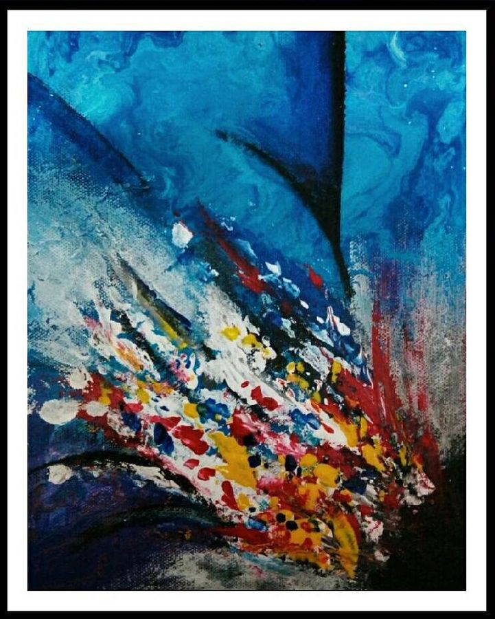 abstract - rejoice, 8 x 12 inch, sonali tompe,abstract paintings,paintings for living room,canvas,acrylic color,8x12inch,GAL032317915