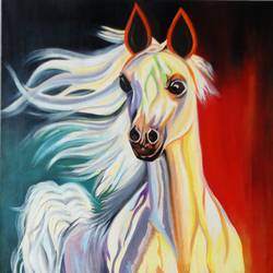 white horse, 18 x 36 inch, amita dand,animal paintings,paintings for living room,horse paintings,canvas board,oil,18x36inch,GAL014677917