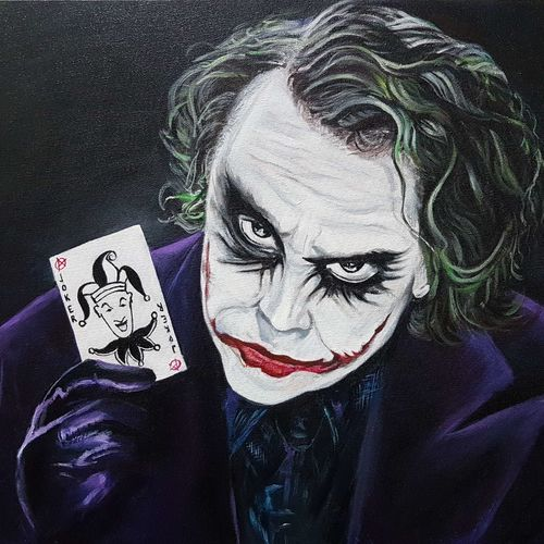joker-the dark knight, 24 x 20 inch, pooja lalwani,figurative paintings,paintings for office,canvas,acrylic color,24x20inch,GAL031177919
