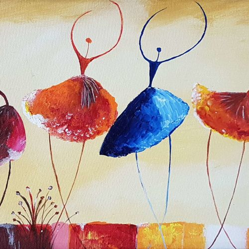 dancing buds, 24 x 12 inch, pooja lalwani,flower paintings,paintings for living room,canvas,acrylic color,24x12inch,GAL031177920
