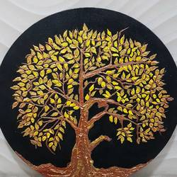 the golden tree of life, 14 x 14 inch, pooja lalwani,pop art paintings,paintings for living room,canvas,acrylic color,14x14inch,GAL031177921