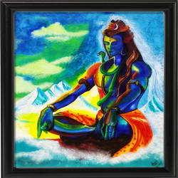 the adiyogi shiva - kalatva012(unframed), 12 x 14 inch, anjali jain,religious paintings,paintings for living room,lord shiva paintings,canvas,acrylic color,12x14inch,GAL027237922