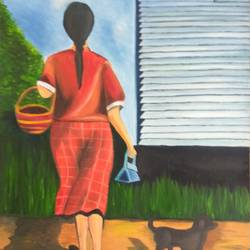 girl with flower basket, 12 x 16 inch, shibani mehta,paintings for dining room,figurative paintings,still life paintings,canvas,oil,12x16inch,GAL012137928