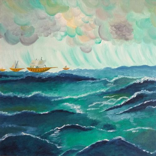 rainy day in the ocean, 16 x 12 inch, shibani mehta,paintings for dining room,modern art paintings,nature paintings,canvas,oil,16x12inch,GAL012137929Nature,environment,Beauty,scenery,greenery