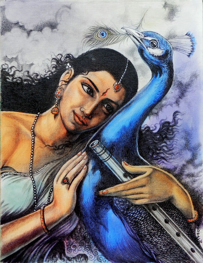 message from krishna, 14 x 18 inch, uddhav deshpande,religious paintings,paintings for living room,radha krishna paintings,canvas,pen color,14x18inch,radha,love,peacock,lord,flute,music,lordkadha,religious,GAL0409793,krishna,Lord krishna,krushna,radha krushna,flute,peacock feather,melody,peace,religious,god,love,romance,peacock