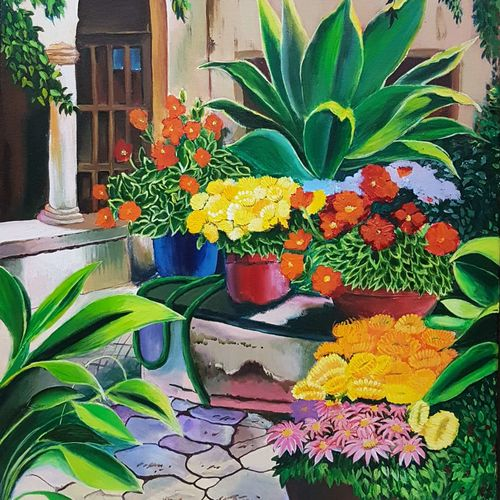 the backyard garden, 20 x 30 inch, pooja lalwani,flower paintings,paintings for dining room,canvas,acrylic color,20x30inch,GAL031177930