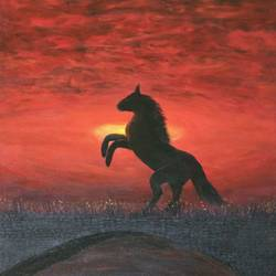 galloping horse, 16 x 20 inch, shibani mehta,paintings for living room,horse paintings,canvas,acrylic color,16x20inch,GAL012137935