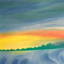 beautiful sunset, 16 x 12 inch, shibani mehta,abstract paintings,paintings for dining room,canvas,oil paint,16x12inch,GAL012137937