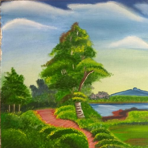 go green, 16 x 12 inch, shibani mehta,landscape paintings,paintings for living room,canvas,oil paint,16x12inch,GAL012137938