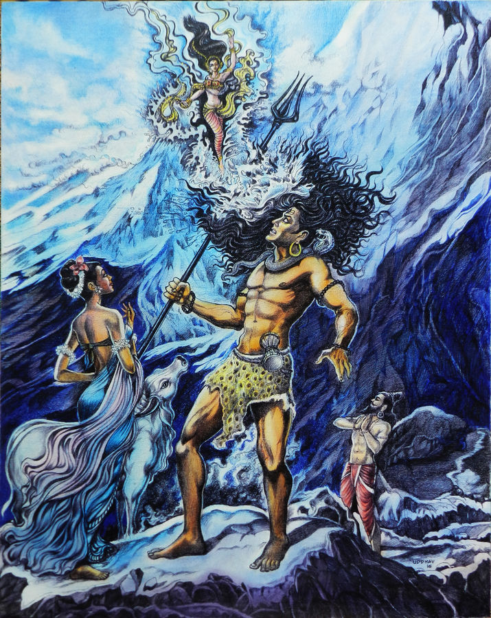 gangavataran, 24 x 30 inch, uddhav deshpande,religious paintings,paintings for living room,lord shiva paintings,canvas,ink color,24x30inch,GAL0409794